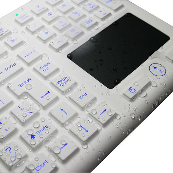 Clavier lavable, étanche IP68, hydrofuge et désinfectable Hygiclav Full Size avec pavé numérique et pad souris