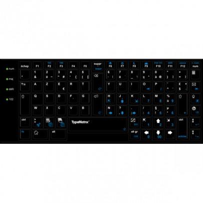 Sur-clavier AZERTY noir pour TypeMatrix 2030