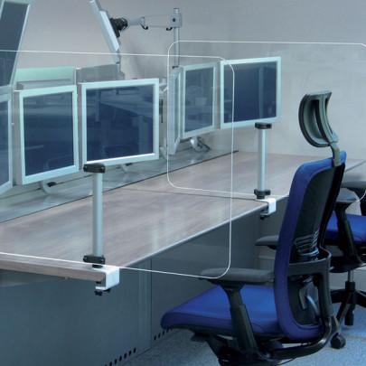 Dispositif en plexiglas transparent pour la séparation sanitaire des bureaux